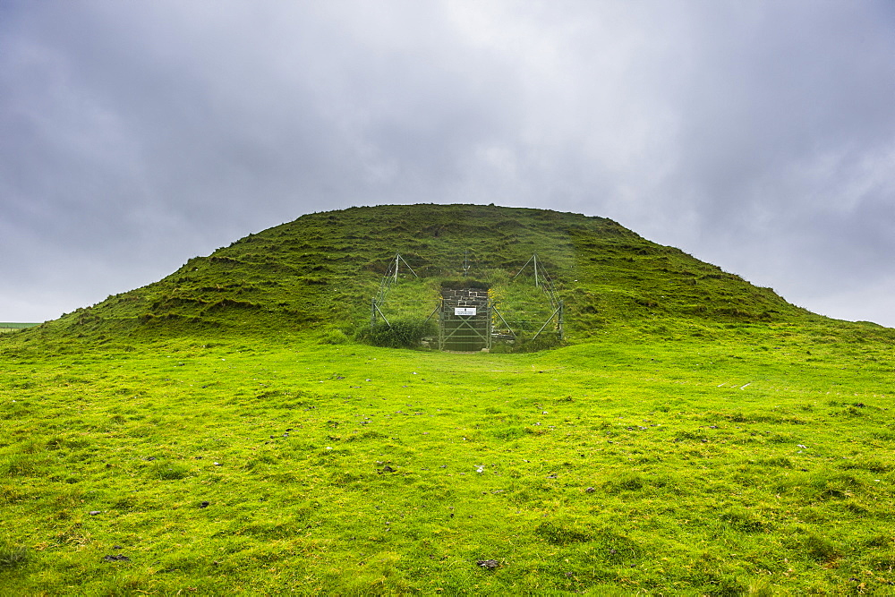 Unesco world heritage sight the Neolithic chambered cairn of Maeshowe, Orkney Islands, United Kingdom - 1184-1874