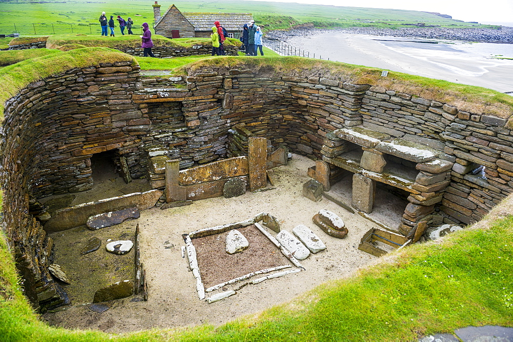 The stone built Neolithic settlement of Skara Brae, UNESCO World Heritage Site, Orkney Islands, Scotland, United Kingdom, Europe
