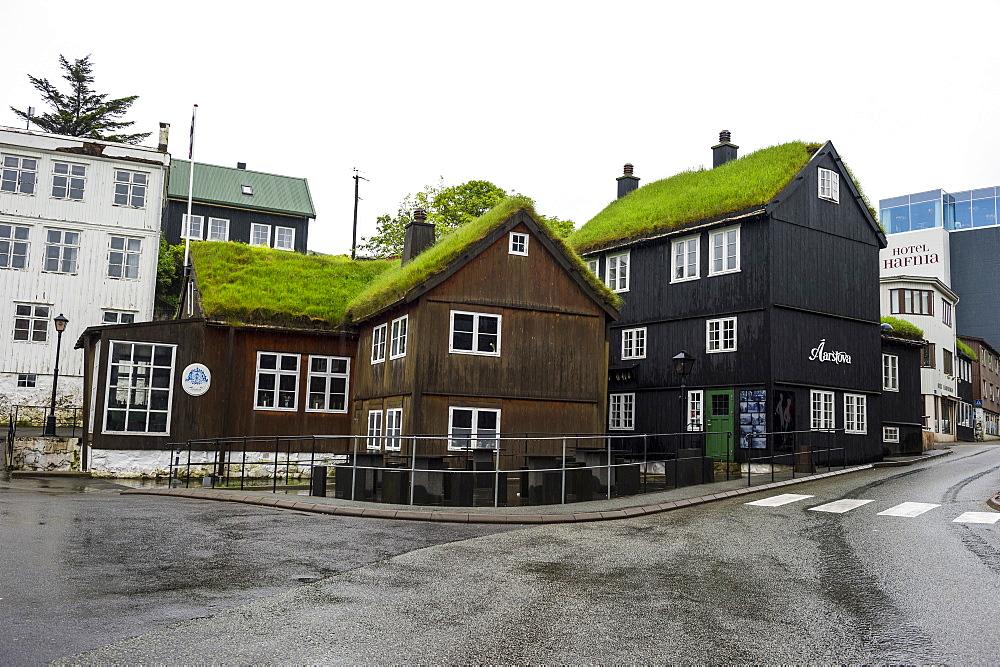 Grass roof houses in Torshavn, capital of Faroe Islands, Denmark, Europe