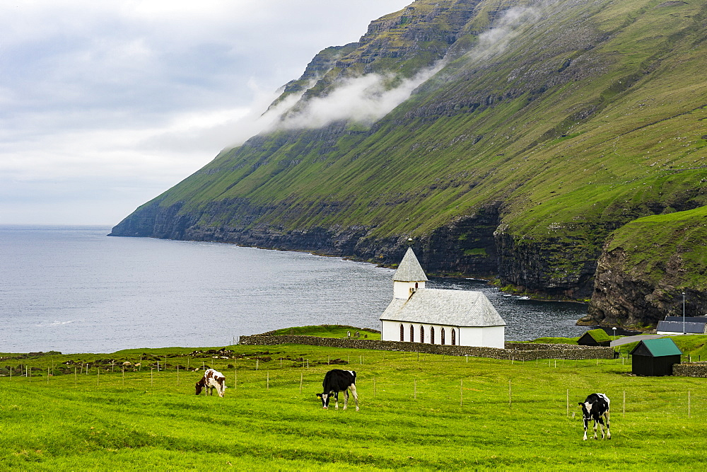 Vidareidi church in Vidoy, Faroe Islands, Denmark, Europe - 1184-1932