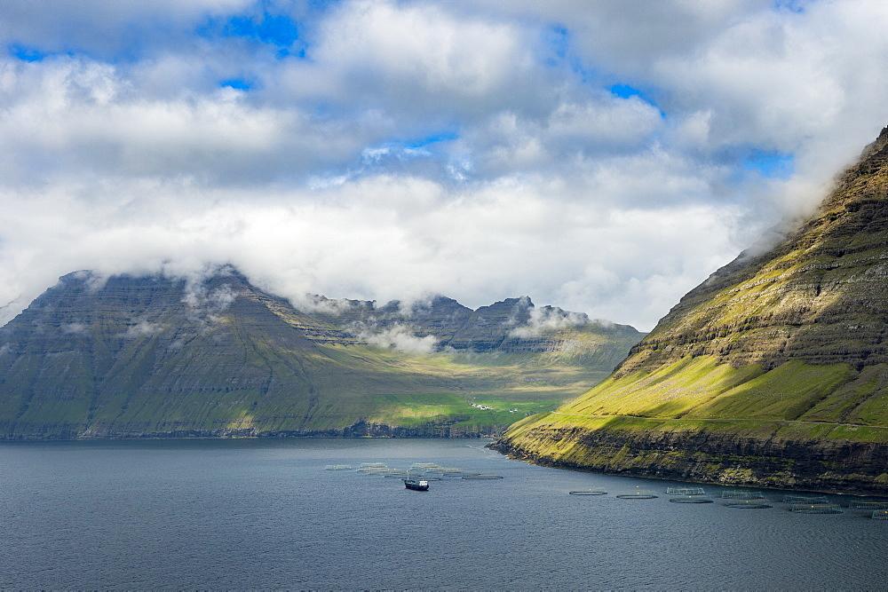 Huge fjord between Bordoy and Vidoy, Faroe islands, Denmark, Europe
