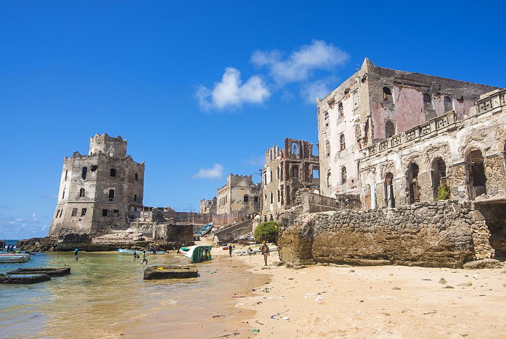 The old italian harbour with its lighthouse, Mogadishu, Somalia