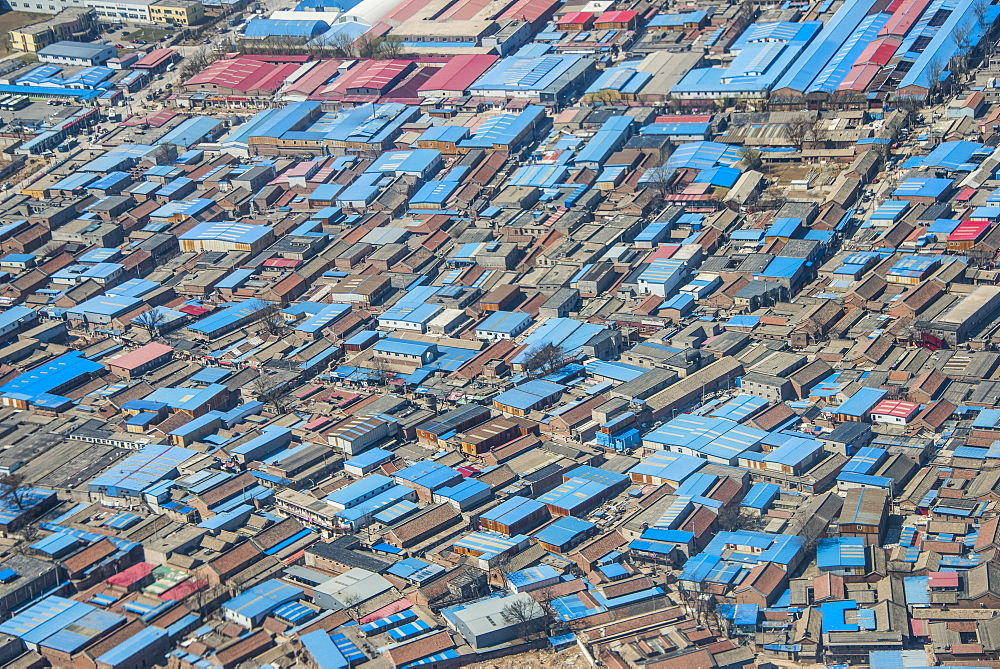 Aerial of an industrial settlement, China, Asia