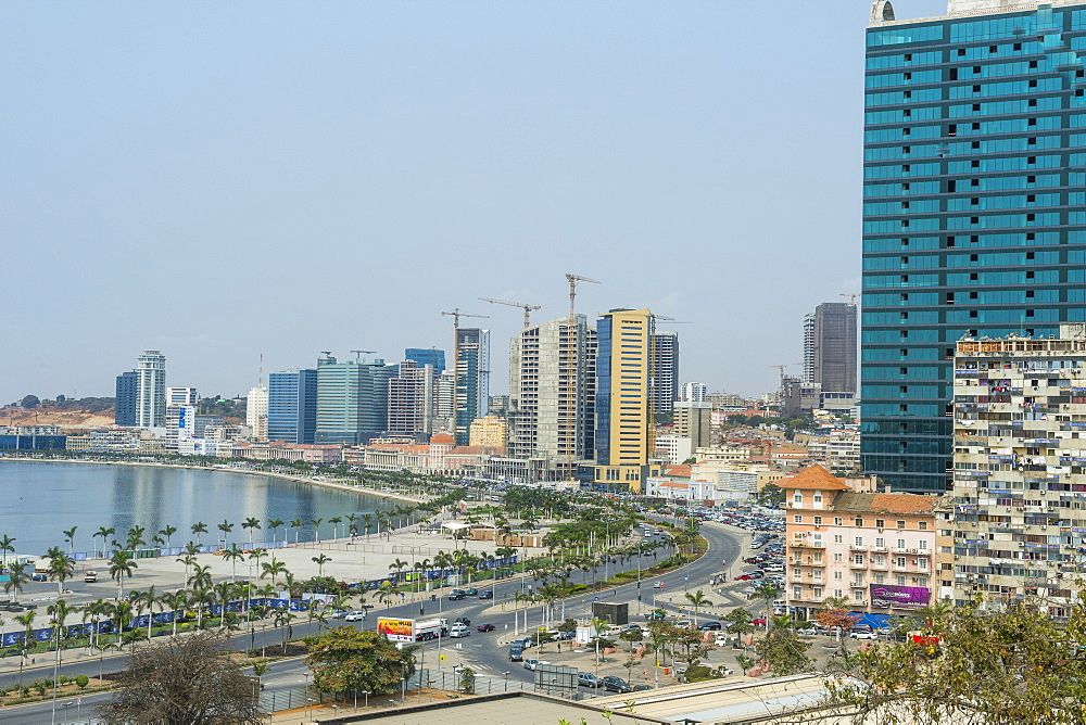 View over the new Marginal Promenade (Avenida 4 de Fevereiro), Luanda, Angola, Africa