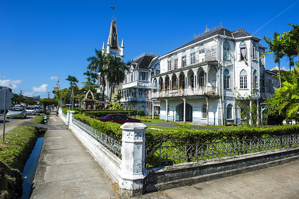 Colonial building in Georgetown, Guyana, South America