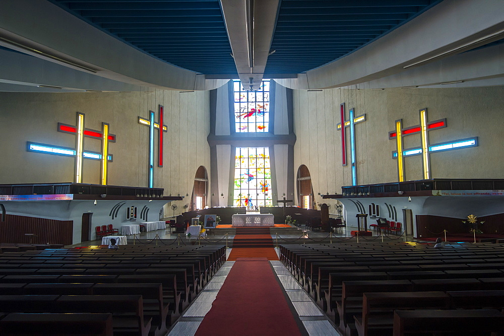 Interior of St. Paul's Cathedral, Abidjan, Ivory Coast, West Africa, Africa