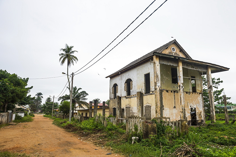 Old colonial house in the Unesco world heritage sight, Grand Bassam, Ivory coast - 1184-2053