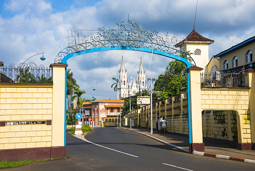 Road leading to the Cathedral of St. Isabel, Malabo, Bioko, Equatorial Guinea, Africa