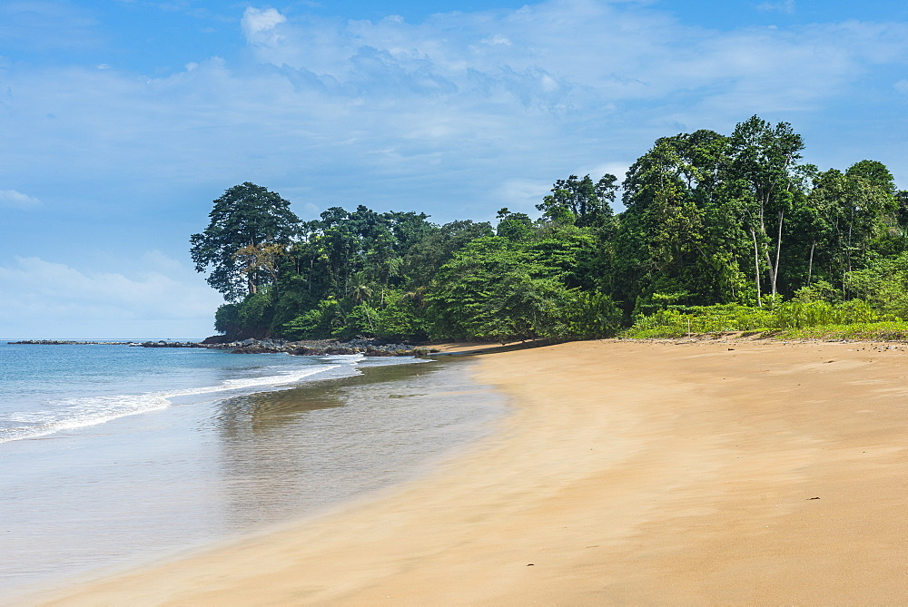 Playa de Alena, white sand beach on the island of Bioko, Equatorial Guinea, Africa