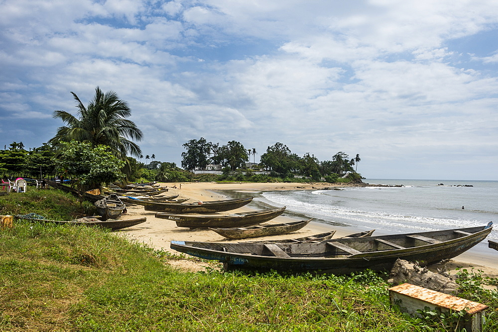 Fishing boats on the beach of Kribi, Cameroon, Africa