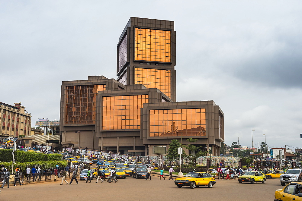 Block Number 2 Ministry on the centre square in downtown, Yaounde, Cameroon, Africa