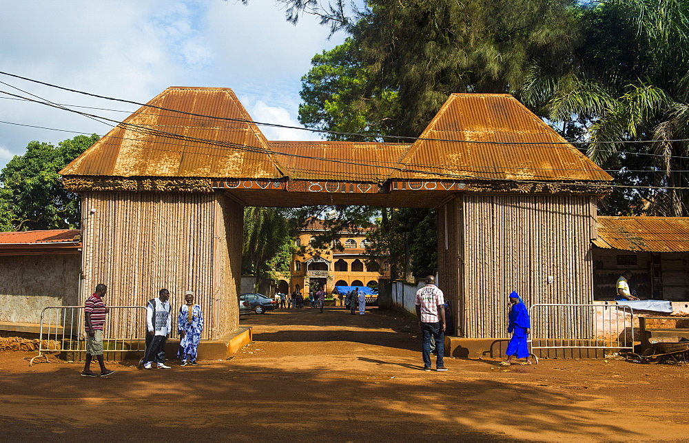 Entrance to the Palace of the Sultan of Bamun at Foumban, Cameroon, Africa