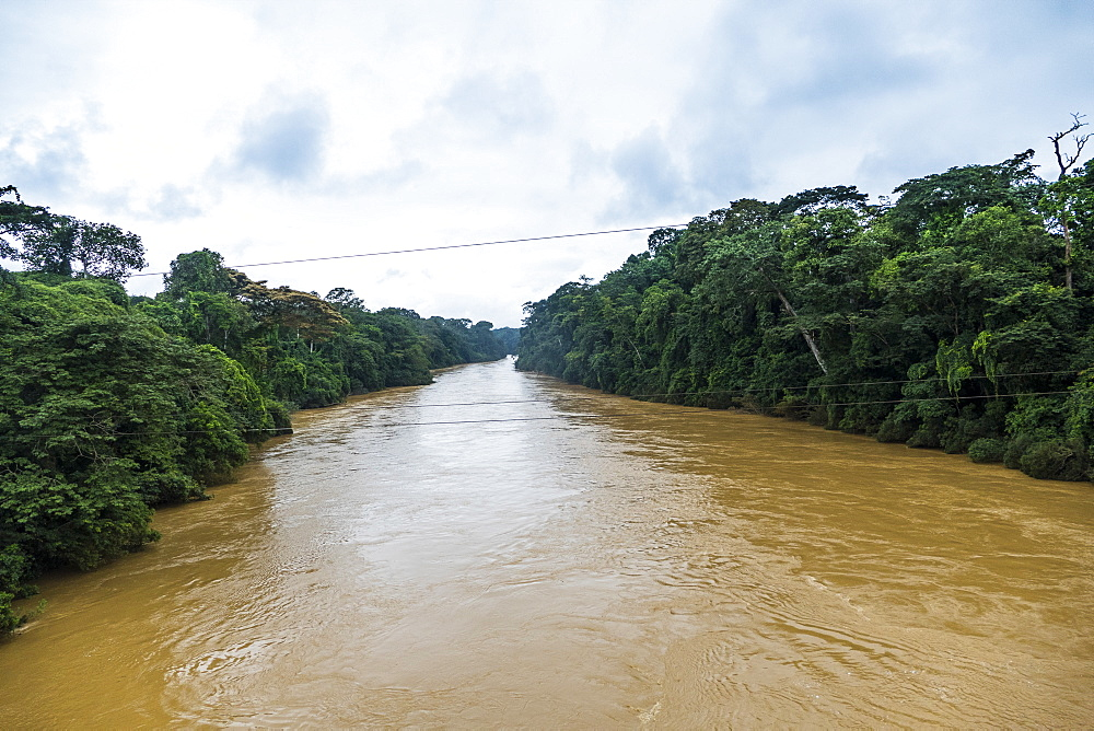Manyu River in the jungle of Southwest Cameroon, Africa
