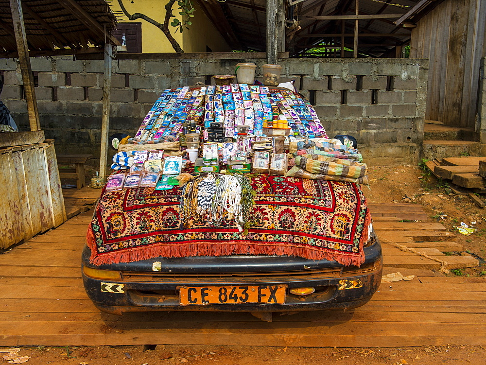 Local store on a car, Libongo, deep in the jungle area, Cameroon, Africa