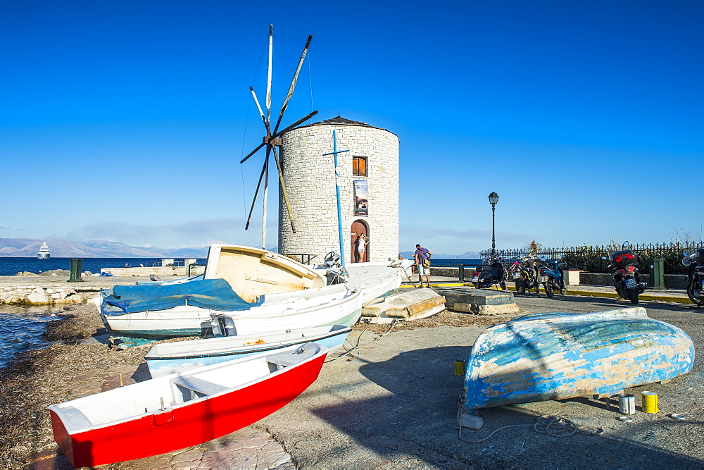 Windmill in the old town of Corfu, Ionian Islands, Greek Islands, Greece, Europe