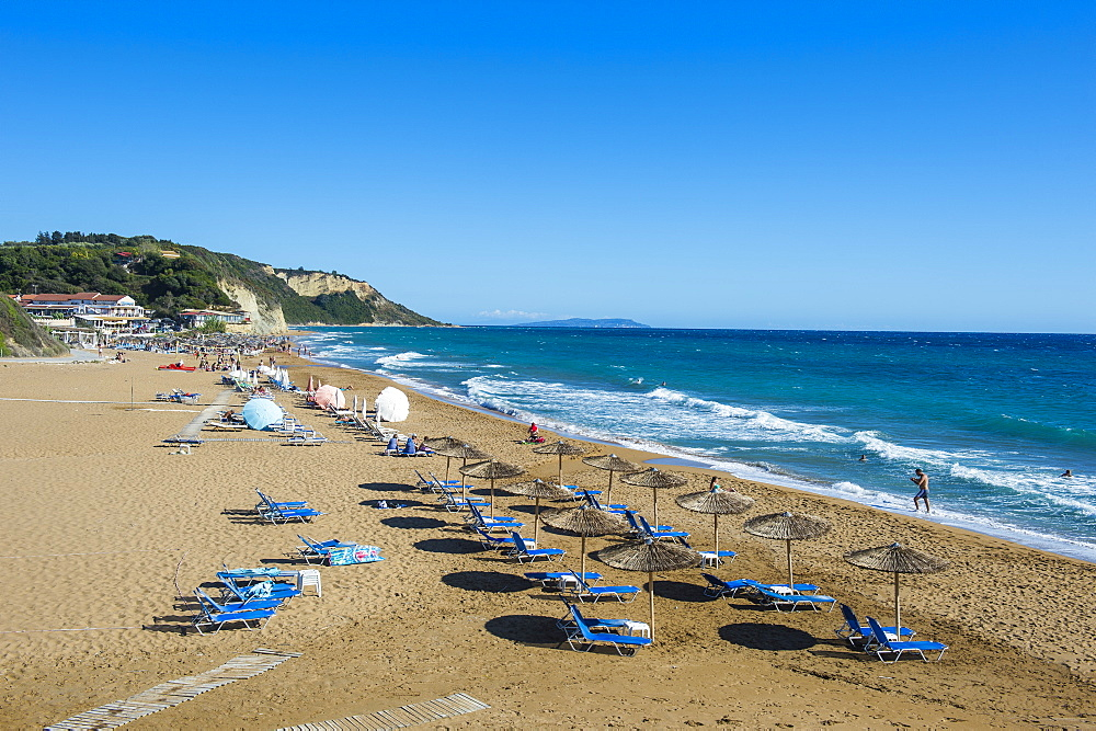 The beach of Argios Georgios, Corfu, Ionian Islands, Greek Islands, Greece, Europe