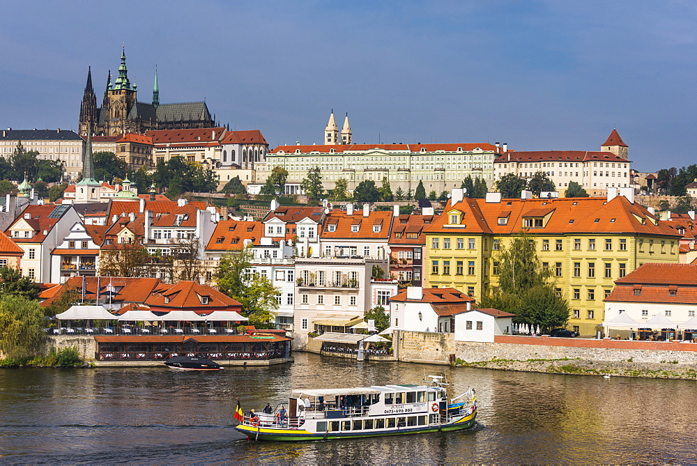 View of the Prague Castle and the Vltava River, Prague, Czech Republic, Europe