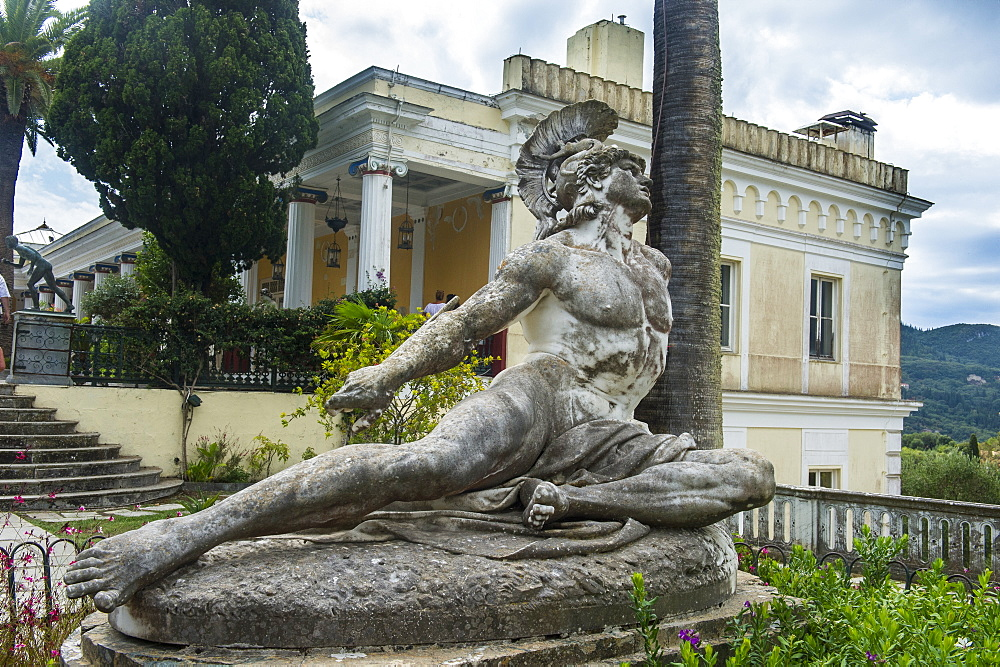 Achilles statue in the Achilleion Palace, old town of Corfu, Ionian Islands, Greek Islands, Greece, Europe - 1184-2252
