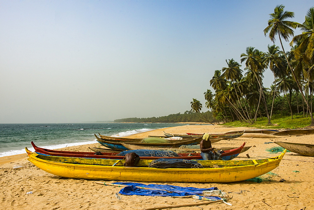 Fishing boats on a beautiful beach, Neekreen near Buchanan, Liberia, West Africa, Africa