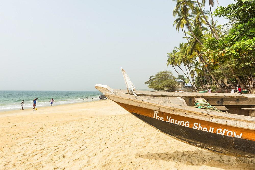 Local fishing boats on Bukeh Beach, Sierra Leone