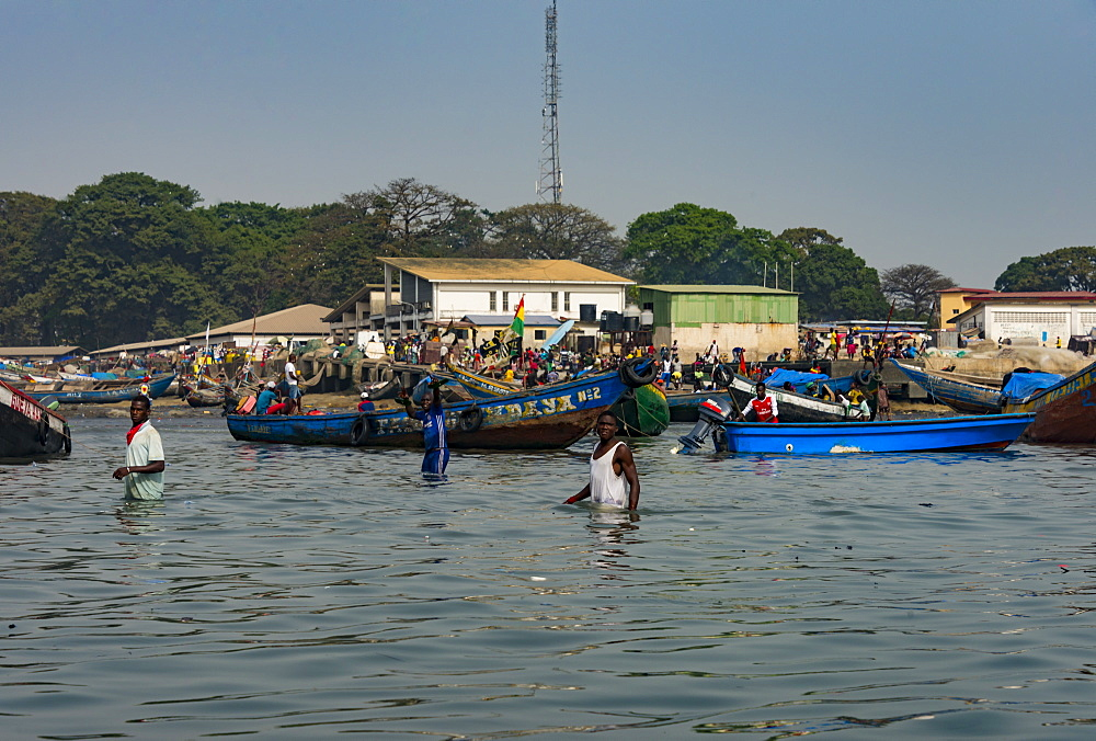 Local fishing boats in the harbour of Conakry, Republic of Guinea, West Africa, Africa