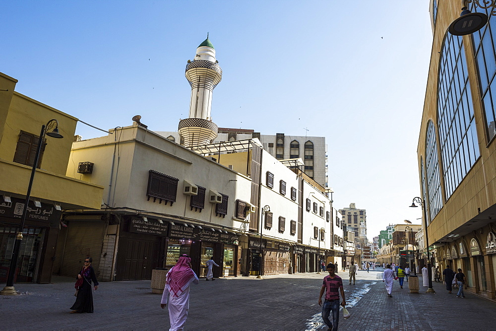 The bazaar area of the old town of Jeddah, UNESCO World Heritage Site, Saudi Arabia, Middle East