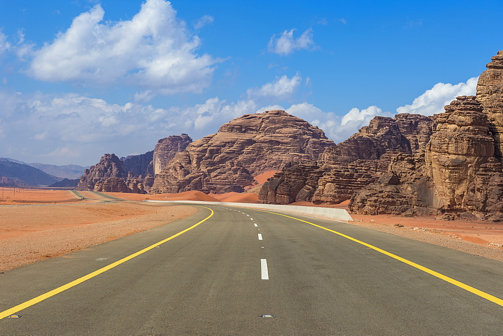 Road leading through the beautiful scenery in the northern territories of Saudi Arabia, Middle East