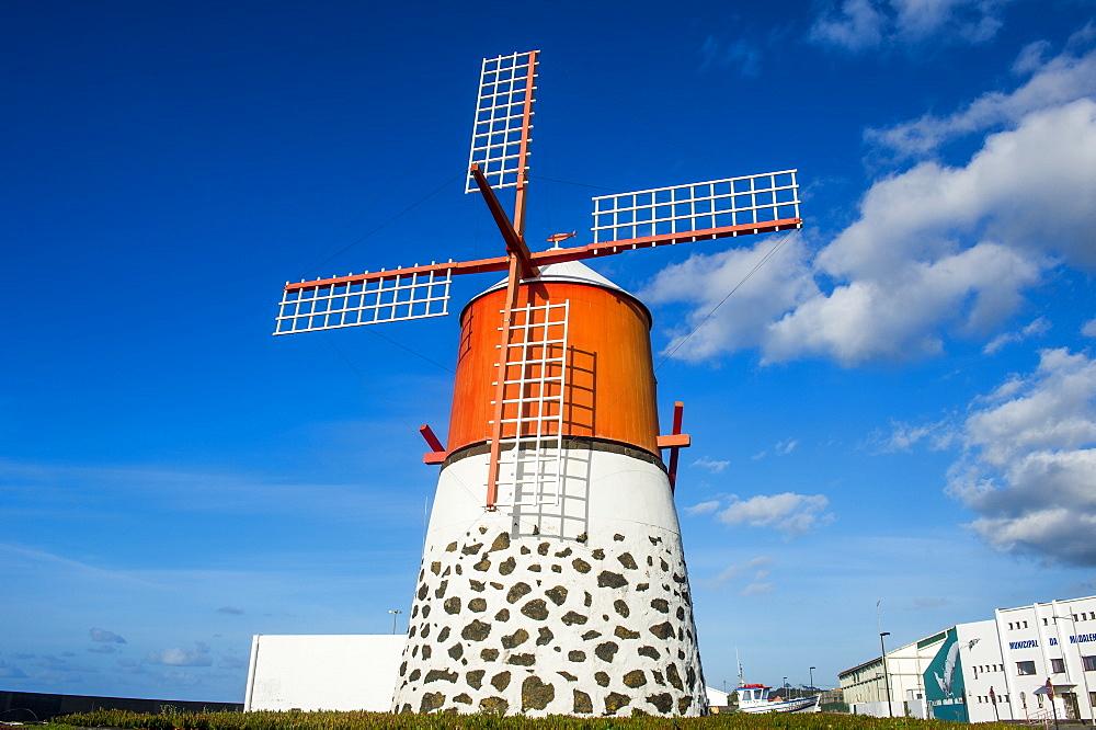 Restored windmill in Madalena, Island of Pico, Azores, Portugal, Atlantic, Europe