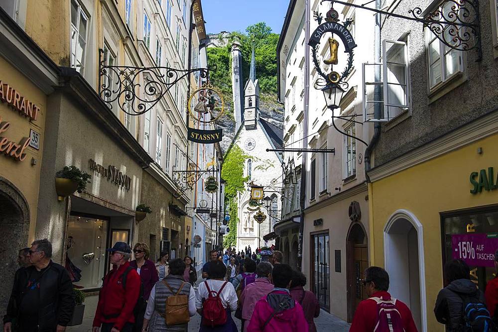 The famous Getreidegasse of Salzburg, Austria, Europe