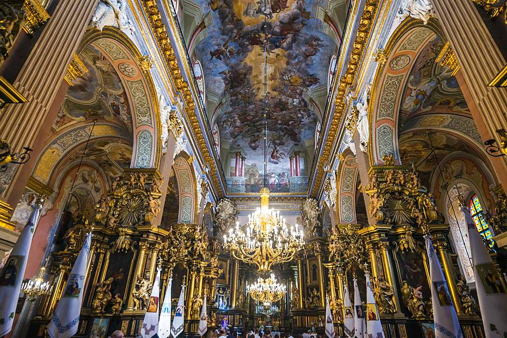 Interior of the Bernardine Church and Monastery, Lviv, UNESCO World Heritage Site, Ukraine, Europe