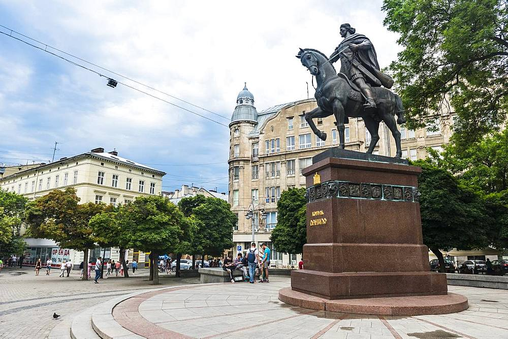 Monument of King Danylo Halytskyi, Unesco sight the town Lviv, Ukraine - 1184-2561
