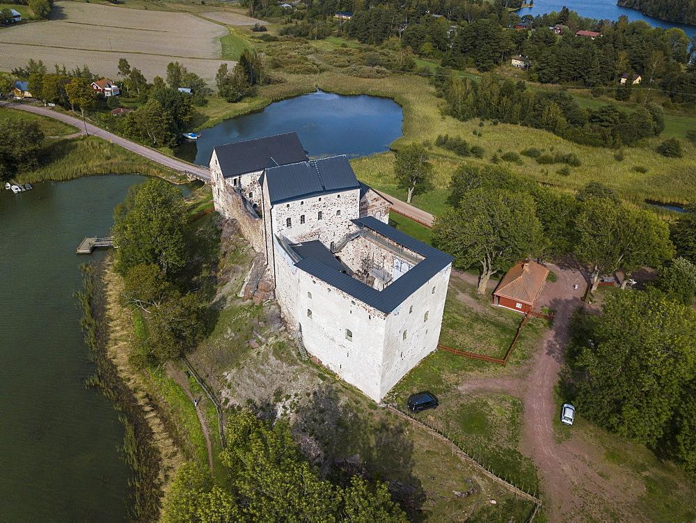 Aerial of Kastlholm castle, Aland, Finland (drone)