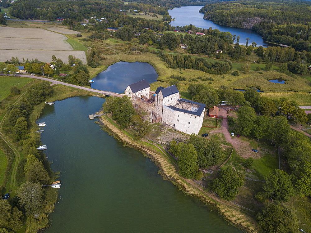 Aerial of Kastlholm castle, Aland, Finland (drone) - 1184-2622