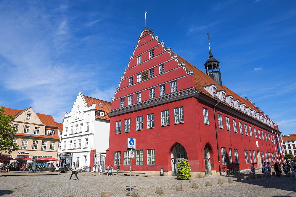Old city hall on the central market square, Greifswald, Mecklenburg-Vorpommern, Germany, Europe