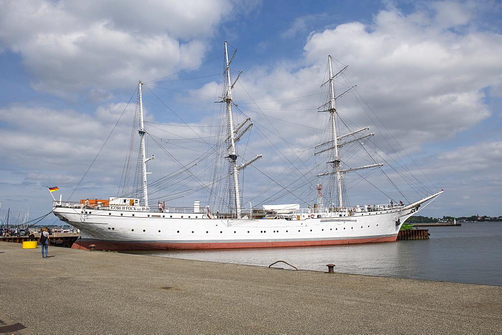 Gorch Fock German three-mast barque, Unesco world heritage sight the Hanseatic town of Stralsund, Germany