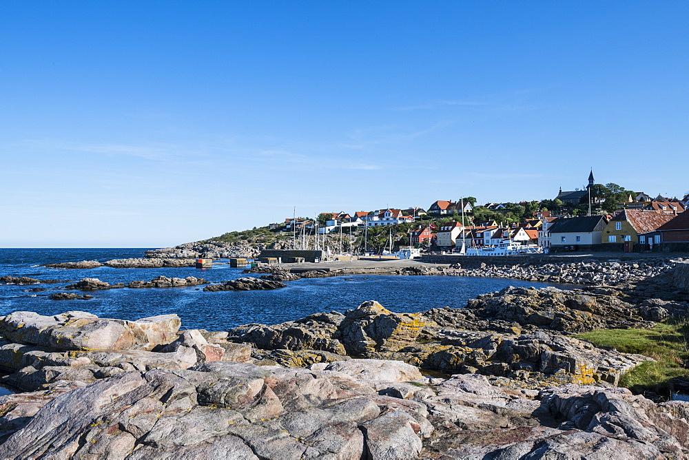 Overlook over the town of Gudhjem, Bornholm, Denmark