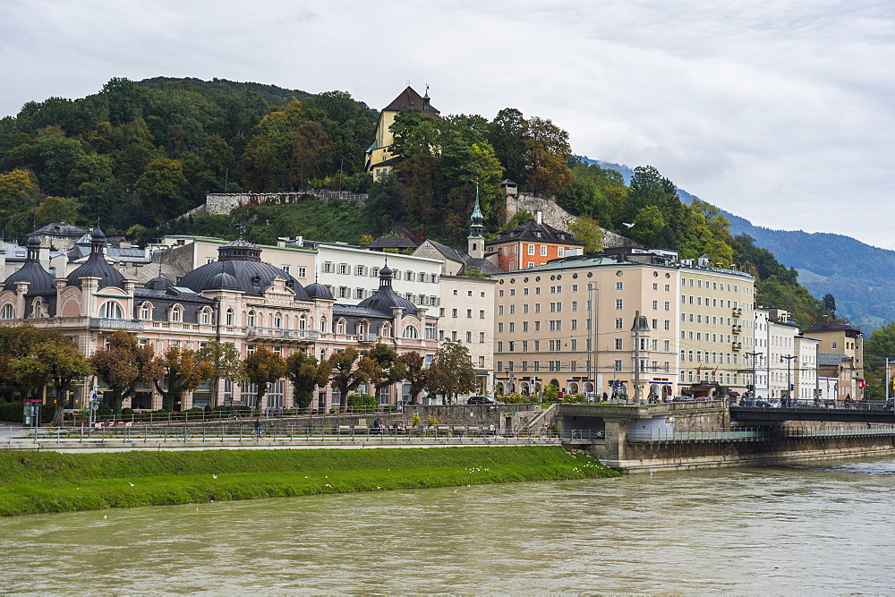 View over Salzburg and the Salzach River, Salzburg, Austria, Europe