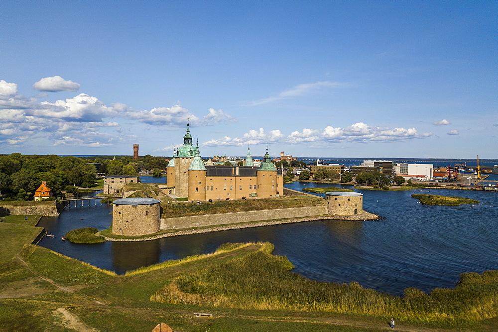 Aerial of Kalmar castle, Kalmar, Sweden (drone)