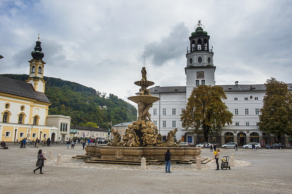 Residence Square in the historic heart of Salzburg, Austria, Europe
