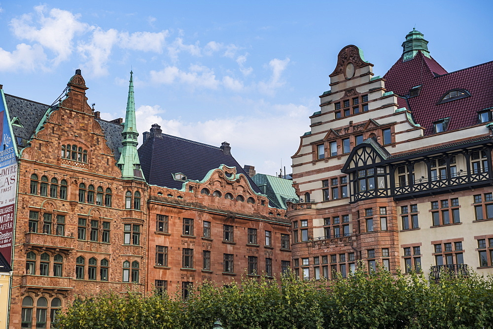 Historical houses, Stortorget, large central square of Malmo, Sweden