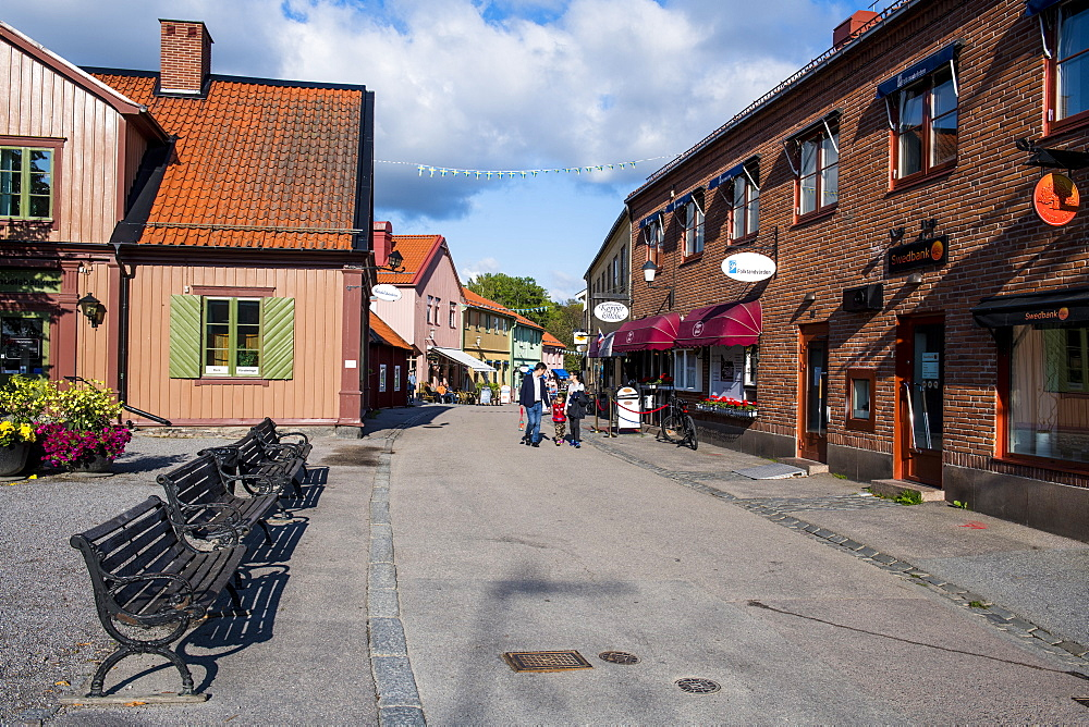 Old houses in the pedestrian zone of Sigtuna, the oldest town of Sweden, Scandinavia, Europe
