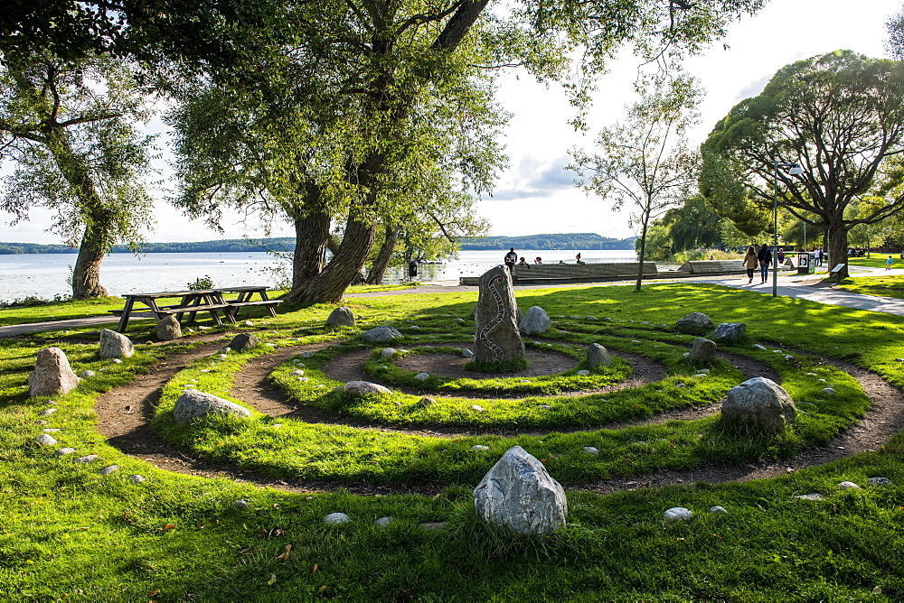 Viking granite pillars, Sigtuna, oldest town of Sweden, Scandinavia, Europe