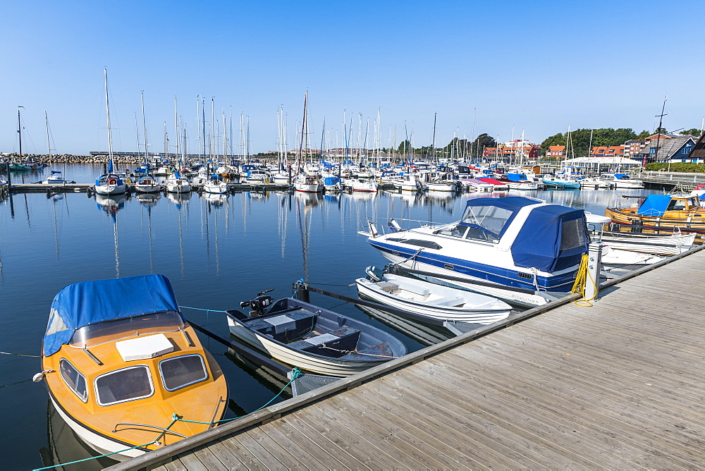 Small ship harbour, historic town of Ystad, Sweden, Scandinavia, Europe