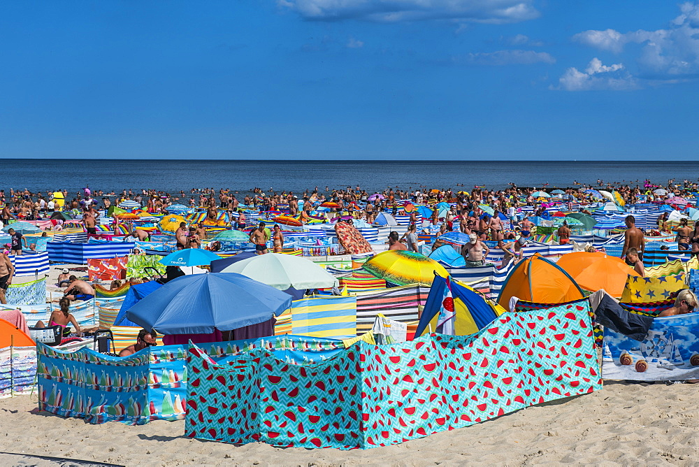 Very busy beach in Leba, Baltic Sea, Poland, Europe