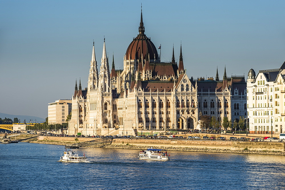 The Hungarian Parliament on the banks of the River Danube, Budapest, Hungary, Europe