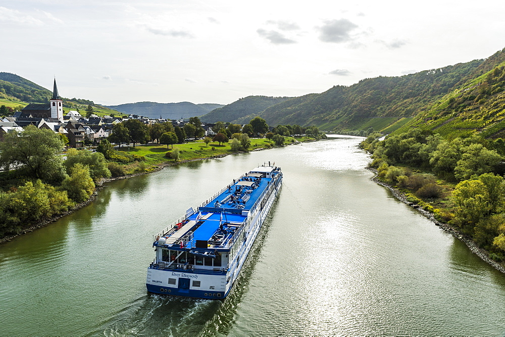 Cruise ship in on the Moselle River, Germany, Europe