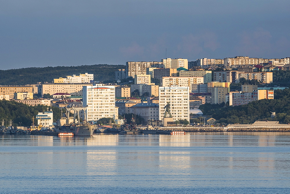 View over Murmansk at sunset, Russia, Europe