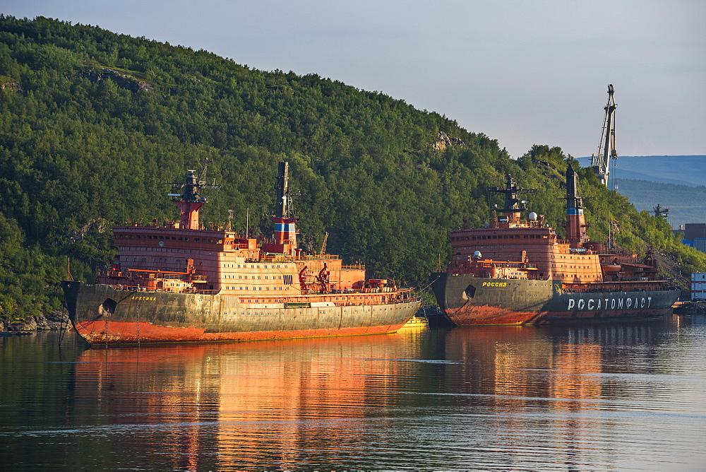 Atomic ice breaker in the harbour of Murmansk, Russia, Europe