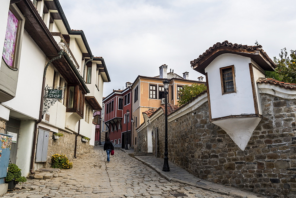 Cobbled streets in the old Town, Plovdiv, Bulgaria, Europe
