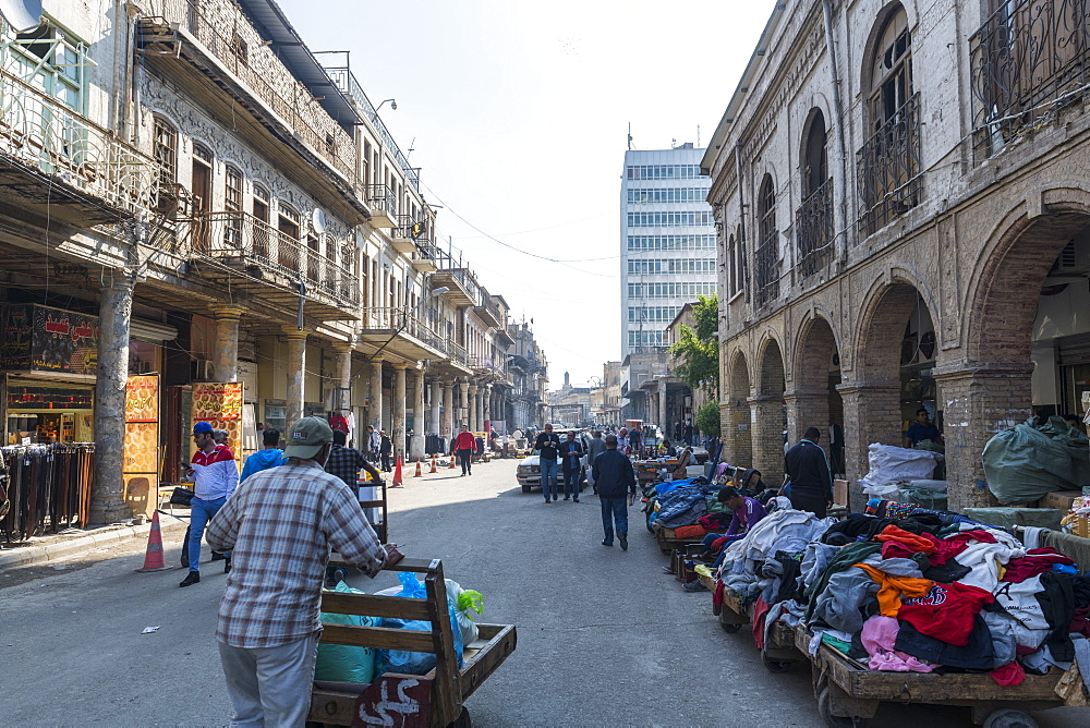 Historic colonial buildings, Al Rasheed Street, Baghdad, Iraq